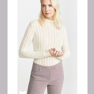 Theory Cable Cashmere Sweater Mock Neck Ivory NWT